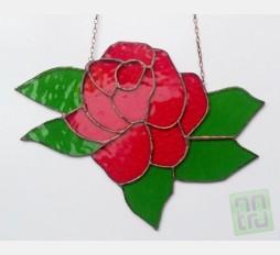 Závěsná vitráž Růže 27x19