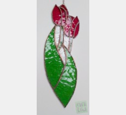 Závěsná vitráž Tulipány 9x29