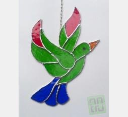Závěsná vitráž Pták 17x24