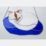Závěsná vitráž Kočka 30x19