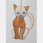 Závěsná vitráž Kočka 18x28
